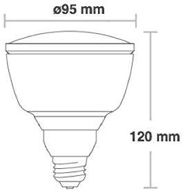 Glühbirne mit einem Durchmesser von 95 mm und einer Höhe von 120 mm
